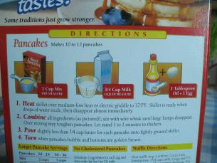 How to make pancakes start cooking dont leave the grocery store until you have read the back of the box of your pancake mix ccuart Choice Image