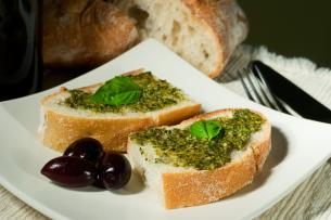 pesto and bread