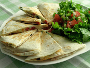 Quesadillas with tomatoes and olives